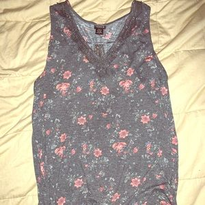 Lace and flower tank with fly away back.